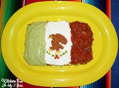 Mexican Flag Dip:      sour cream, beans, cheese, green peppers, olives, lettuce, guacamole, salsa, & tomatoes.  Start w/refried beans mixed w/taco seasoning. Next layer: mix 1 chopped tomato, 1 chopped green bell pepper, small can black sliced olives spread. Top w/shredded cheese, & then shredded lettuce. Add your guacamole, sour cream, and salsa in three stripes. Save a little of beans to shape the Mexican eagle in middle. Use scraps of green bell pepper, cheese, and salsa to complete…
