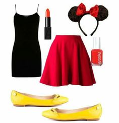 A fashion look from September 2014 featuring Warehouse tops, Elle Sasson mini skirts and Sam Edelman flats. Browse and shop related looks. Costume Halloween, Halloween Outfits, Halloween Customs, Halloween 2017, Halloween Stuff, Halloween Ideas, Disfraz Minnie Mouse, Minnie Mouse Costume, Disney Inspired Outfits