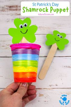 This St Patrick's Day Shamrock Puppet Craft is so colourful and fun! It's really easy to use with a simple push-pull motion so it's a great pop-up St Patrick's Day puppet for kids big and small. Watch the cheeky shamrock pal pop up and down from inside the rainbow! Such a fun shamrock craft for St Patrick's Day. #kidscraftroom #kidscrafts #stpatricksday #shamrockcrafts #stpatricksdaycrafts #preschoolcrafts #puppets Kids Wedding Activities, Fine Motor Activities For Kids, Christmas Activities For Kids, Toddler Activities, Preschool Activities, Crafts To Make And Sell Unique, Easy Crafts For Kids, Toddler Crafts, St Patricks Day Crafts For Kids