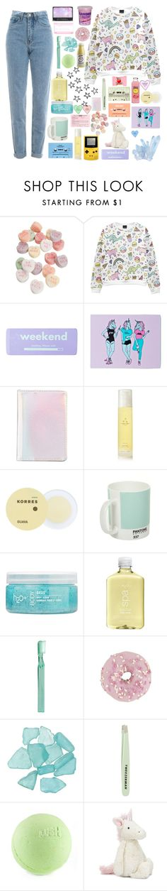 """25+26=51🦄"" by sashaafonina ❤ liked on Polyvore featuring WALL, claire's, Unicorn Rockstar, ban.do, Aromatherapy Associates, CASSETTE, Korres, Pantone, H2O+ and Supersmile"