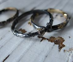 Distressed Oxidized Silver 18K Gold by HotRoxCustomJewelry on Etsy, $264.00