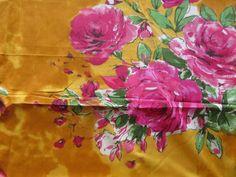 E8 Yellow Fuchsia Big Floral Fabric Pattern