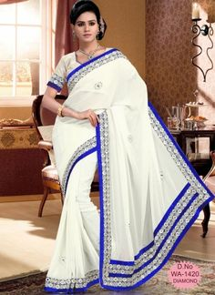 Fantastic Pure White With Blue Patch Border Saree