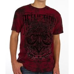 Affliction Science T-Shirt ($48) ❤ liked on Polyvore featuring men's fashion, men's clothing, men's shirts, men's t-shirts, red, affliction mens shirts, mens red shirt and mens red t shirt