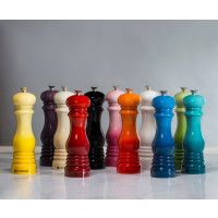 "Le Creuset Pepper Mill ($38.00)   -          Le Creuset pepper mills combined classic form and modern technology with iconic colors -          Adjust the grind setting with a turn of the knob – clockwise for a finer ground and counterclockwise for a coarse grind -          8"" x 2 ½"""
