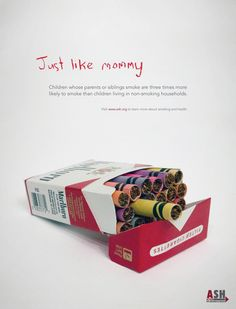"Anti-Smoking Print Ad: ""Just Like Mommy"" on Behance                                                                                                                                                                                 More"