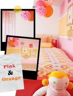 pink, orange and white girls room