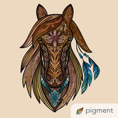 Zentangle, Mustang, Mandala, Animals, Nevada, Art, Paintings, Colors, Animales