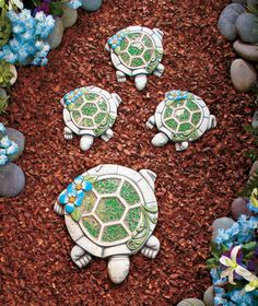 I had these sent to my mom from Lakeside Collection, and she just loves them!! how cute!! 4-Pc. Mosaic Family Steppingstones   The Lakeside Collection