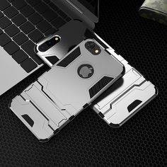 KISSCASE Fashion Hybrid 2 in 1 PC Case For iPhone 6 6s Plus 7 7 Plus Case Cool Iron Man Armor Protrctive Back Kickstand Coque