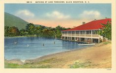 Vintage postcard of people bathing at Lake Tomahawk in Black Mountain, North Carolina. On sale for $4 from Vintage Postcard Boutique.