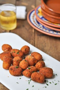 CHORIZO CROQUETAS. - Made with Chorizo Sausage but I believe any sausage would work. Chorizo Recipes, Portuguese Recipes, Spicy Recipes, Mexican Food Recipes, Appetizer Recipes, Antipasto, Bruschetta, Easy Cooking, Cooking Recipes