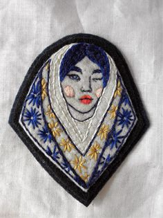 Hand Embroidered Cobalt Girl Head Patch by eradura on Etsy