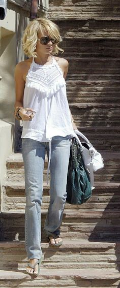 Lovely spring/summer fashion. White lace/crochet top plus vintage wash denim jeans. #style #fashion