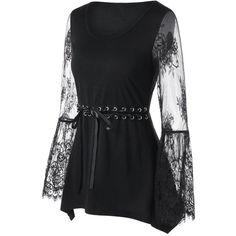 Gothic Wiccan Grommet Lace Up Lace Sleeves Top (605 ARS) ❤ liked on Polyvore featuring tops, grommet top, lace front top, eyelet lace top, goth tops and lacy top