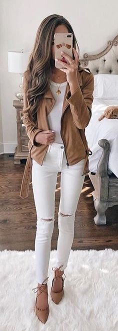 #spring #outfits brown zip-up jacket, white crew-neck shirt, and distressed white denim fitted jeans. Pic by @zara__streetstyle