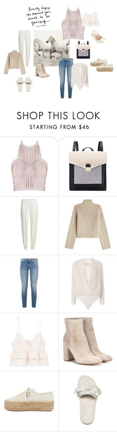 """Be yourself"" by ellasophialove ❤ liked on Polyvore featuring Pottery Barn, Loeffler Randall, DKNY, Rosetta Getty, 7 For All Mankind, Michelle Mason, MANGO, Gianvito Rossi, Superga and Puma"