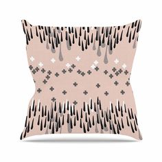 KESS InHouse ZM2020AOP03 18 x 18-Inch 'Zara Martina Masen A Drop of Memphis Peach Pastel Black' Outdoor Throw Cushion - Multi-Colour ** Find out more at the image link. #GardenFurnitureandAccessories
