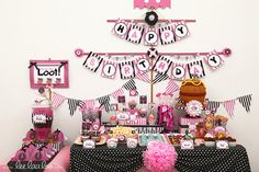 Pink Black Pirate Girl Birthday Party Package Personalized FULL Collection Set - PRINTABLE DIY - BX8y. $29.00, via Etsy.