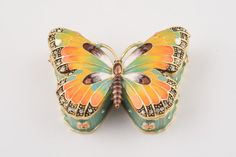 Butterfly Faberge Styled Trinket Box Handmade Decorated with Swarovski Crystals