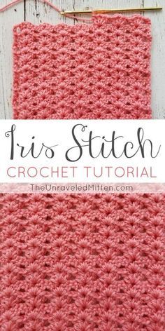 Iris Stitch Crochet Tutorial | The Unraveled Mitten | This easy shell type crochet stitch would be perfect for a baby blanket, afhgan, scarf or sweater. #crochetsitch #crochet
