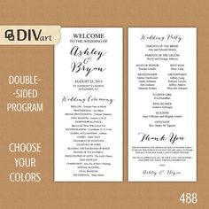 """PRINTABLE 4x9"""" Wedding Program - double-sided - simple and elegant - custom color, size, font  by DIVart"""