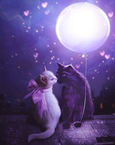 Moon and cat art Purple Love, All Things Purple, Purple Rain, I Love Cats, Crazy Cats, Cute Cats, Memes Arte, Cat Art, Cats And Kittens