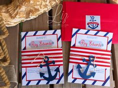 "⚓️Nautical Birthday Party invitations for the ""sailor boy"" Roy Eduardo ⚓️❤️⛵️ (my favorite theme forever) #nautical #nauticaltheme #navytheme #cumpleañosmarinero #marinerocumple #birthdayparty #anchor #marinero #marine #ahoymatey #ahoysailor #handmade #handcrafted #invitations #nauticalinvitations #cards #handmadecards #papergoods #envelopes #red"