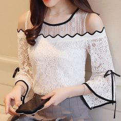 Find More Blouses & Shirts Information about 2018 New Women's Fashion Lace Chiffon Stitching Blouse Flare Sleeve Top Lace O neck Blouse Strapless Sexy Women Clothing Quality blouses tops,China sleeve blouse Suppliers, Cheap chiffon shirt from White Chiffon Blouse, Chiffon Shirt, Lace Chiffon, Mode Hijab, Lace Tops, Fashion Dresses, Women's Fashion, Fashion Spring, Holiday Fashion