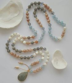 Aphrodite Mala necklace hand knotted with gemstone beads Labradorite aquamarine Moonstone mother of pearl aqua aura with Labradorite pendant by HeartwingMalas on Etsy https://www.etsy.com/listing/560886241/aphrodite-mala-necklace-hand-knotted