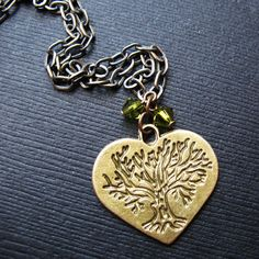 Tree Of Life Heart Charm Necklace. Olive Green Tree by pulpsushi #hvnyetsy