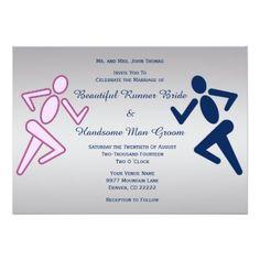 Runner Running Pink Blue Personalized Wedding Card