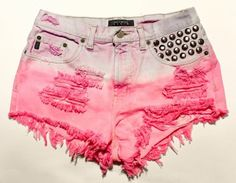 bright pink and pastel purple ombre / vintage denim / dome studs & destroyed / high waisted shorts High Waisted Ripped Shorts, Distressed High Waisted Shorts, Vintage High Waisted Shorts, Waisted Denim, Ripped Denim, Denim Shorts, Distressed Denim, Studded Shorts, Hot Shorts