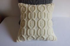 Ivory cable knit pillow cover decorative couch by Adorablewares