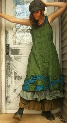 green pin-tuck dress