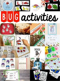Bug Activities for Preschool and Kiindergarten. Bug inspired activities for learning the alphabet counting addition sight words and more. Insect Activities, Preschool Activities, Preschooler Crafts, Preschool Printables, Alphabet Activities, Summer Activities, Early Learning, Fun Learning, Pre Writing