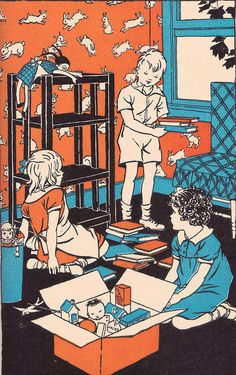 """The new playroom    """"Jolly Number Tales, Book Two"""" by Guy Buswell, William Brownell, and Lenore John. Illustrated by Florence J. Hoopes and Margaret C. Hoopes. Ginn and Co., who copyrighted in 1937 and 1938. """"A number storybook to be used both as a reader and as an aid in number work."""""""