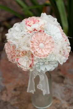 Flowers fabric bouquet vintage inspired ideas for 2019 Cloth Flowers, Fabric Flowers, Paper Flowers, Bridesmaid Bouquet, Wedding Bouquets, Wedding Flowers, Wedding Stuff, Wedding Ideas, Fabric Bouquet