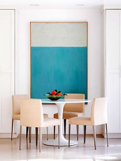 Cool Contemporary; Dining Room Inspiration (table and wall art)