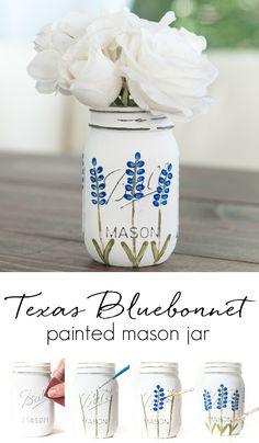 How To Paint Texas Bluebonnet on Mason Jar - Mason Jar Crafts Love