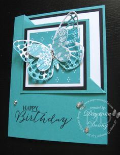 Dayanna's corner fold card featuring Butterfly Basics, Floral Wings (host), Cherry on Top dsp stack, Butterflies Thinlits, & more - all from Stampin' Up!