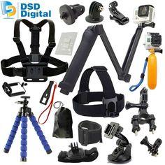 SAQN for GoPro 3-Way Grip Arm Tripod set head strap for gopro hero 5 4 3 2 session black sjcam action camera xiaomi yi 08A