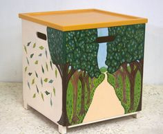 Toy box with trees  By Varda Artisticolors