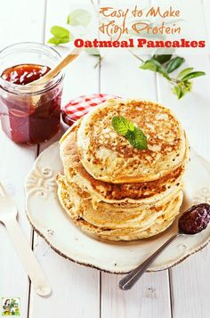 An easy-to-make oatmeal protein pancake recipe using Greek yogurt.