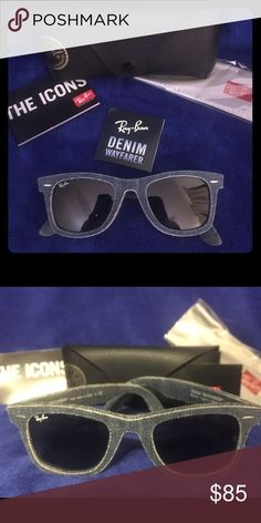 "💙 RayBan Sunglasses 💙 Denim WayFarer RayBan Sunglasses! BRAND NEW!!! Never Worn! These baby's are one of a kind that's for sure, they have the ""original look"" of RayBan with the WayFarer frame but with a rugged twist of unique casual style! A denim blue jean frame with black non-Polarized lenses. Fits the same as other RayBans and can be adjusted to comfort but you won't find very many of these out an about! ...change it up a bit and try these out! 😎 Ray-Ban Accessories Sunglasses"