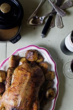 Roast duck with apples & port gravy / by Manger