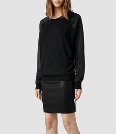 Womens Agi Sweater (Cinder Marl/Petrol) | ALLSAINTS.com