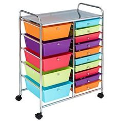 This 15 drawers rolling storage cart with 5 big drawers and 10 small drawers is ideal in your office, home, school and garage. Featuring a chrome steel frame and plastic drawers, this 15 drawers rolling cart is durable and serves Drawer Cart, Drawer Shelves, Storage Drawers, Storage Spaces, Storage Chest, Arts And Crafts Storage, Craft Storage, Plastic Drawers, Small Drawers