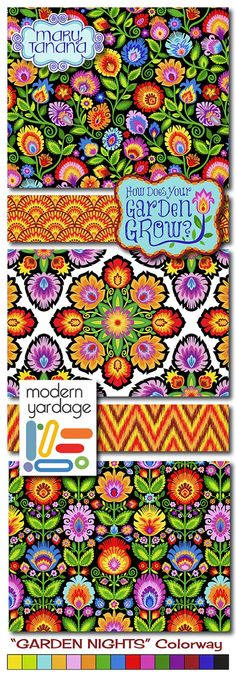 How Does Your Garden Grow? in Garden Nights fabric collection by Mary Tanana for www.modernyardage.com #flowers #fabric #quilting #sewing