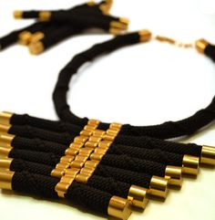 Tribal rope necklace in black and gold van lovedaccessories op Etsy, €36.00